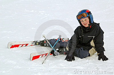 Boy learning to ski