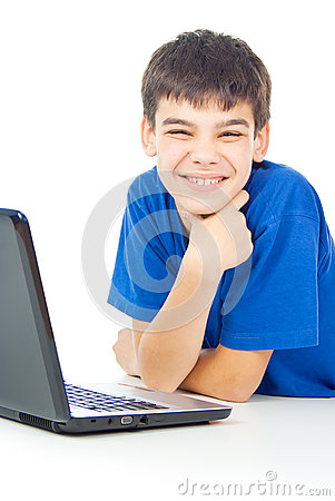 Boy learns lessons at a laptop