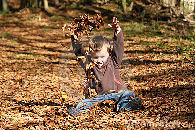 Boy in leaves