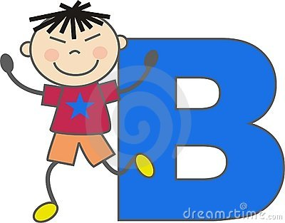 A boy with letter B