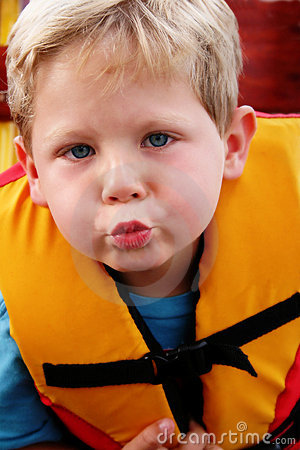 Boy in a life jacket