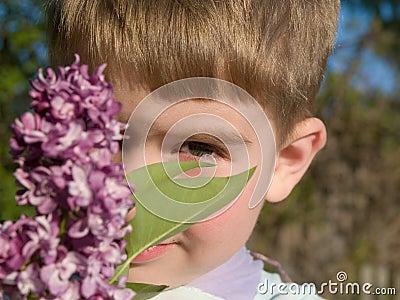 Boy with lilac