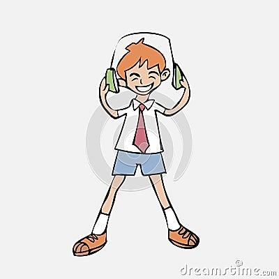 Free Boy Listen Music Headphone Stock Images - 42878164