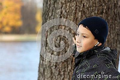 Boy listen music and relaxing