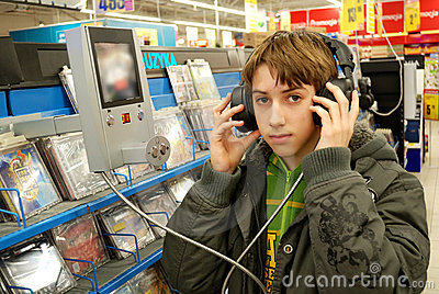 Boy listening to the music