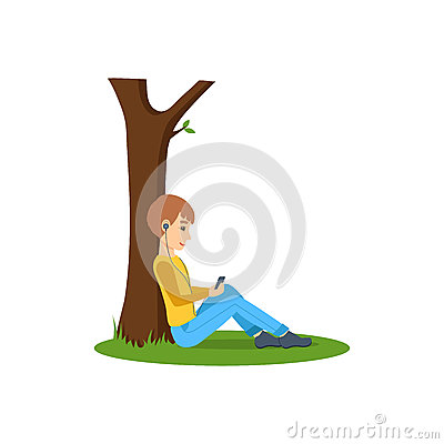 Free Boy Listening To Music, Near Tree In The Park. Stock Photo - 85229910