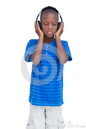 Free Boy Listening To Music With Eyes Closed Stock Photography - 32234382