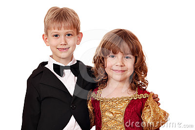 Boy and little girl posing