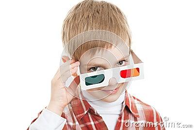 Boy looking through 3d glasses