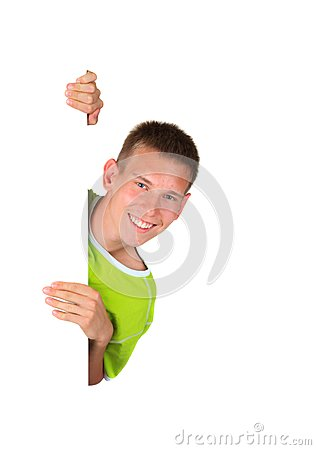 Free Boy Looking Around Blank Sign Stock Photography - 28136212