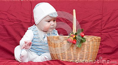 Boy looking into the basket