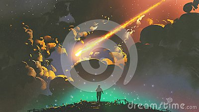 Boy looking the meteor in the colorful sky Cartoon Illustration