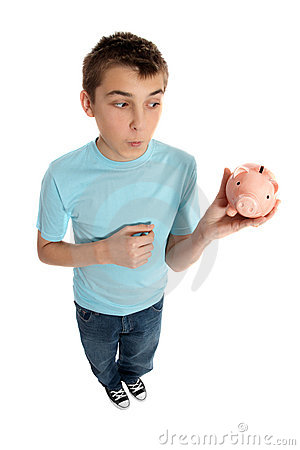 Boy looking at money box