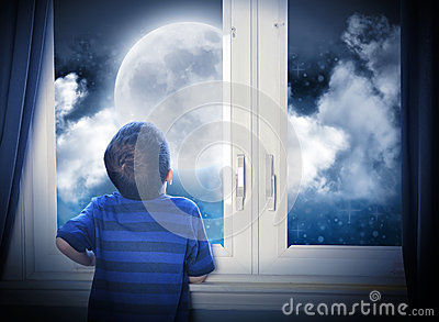 Boy Looking at Night Moon and Stars