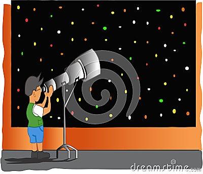 Boy looking in telescope
