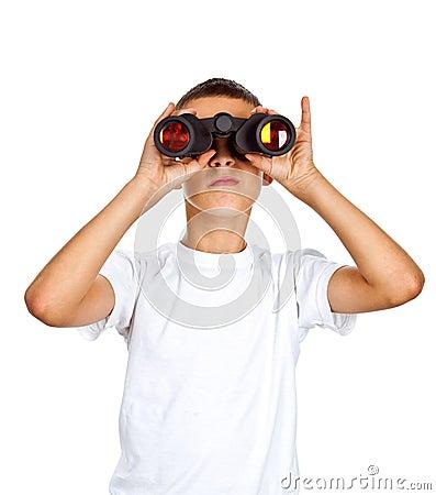 Free Boy Looking Through Binoculars Stock Photography - 26732462
