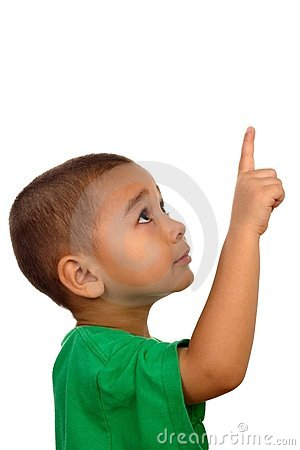 Free Boy Looking Up And Pointing Up Stock Image - 3852851