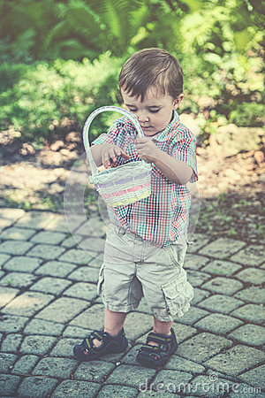 Free Boy Looks In His Easter Basket - Retro Royalty Free Stock Images - 51240969