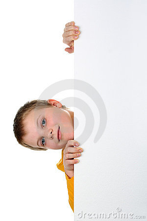 Boy looks out of blank banner isolated on white