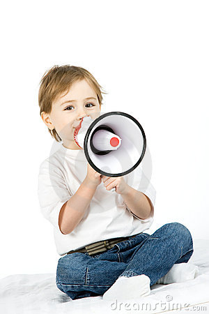 Boy with loud speaker