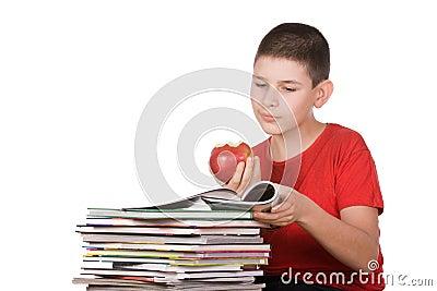 Boy with magazines