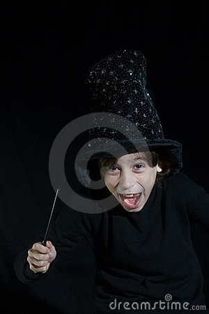 Boy with magic wand