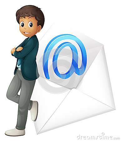 A boy with mail envelop