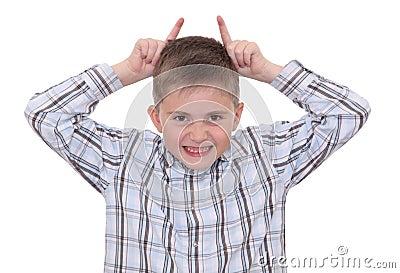 Boy making faces