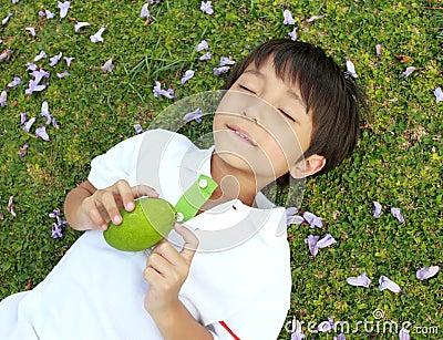 Boy with manggo