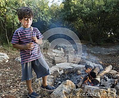 Boy marshmallow campfire