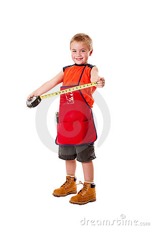 Boy with measuring tape