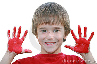 Boy with Messy Red Hands