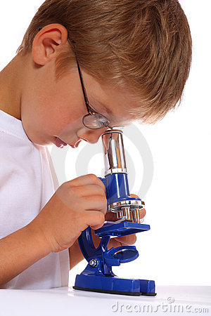 The boy with a microscope