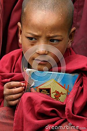 BOY IN MONASTERY OF LADAKH Editorial Image