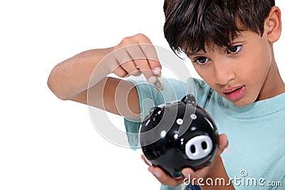 Boy and money box