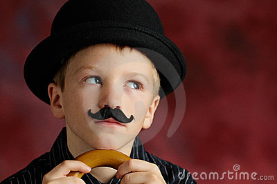 Boy with moustache and bowler