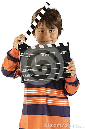 Boy With Movie Clapper Board Royalty Free Stock Photo - Image: 25430425