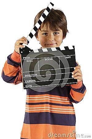 Boy with movie clapper board