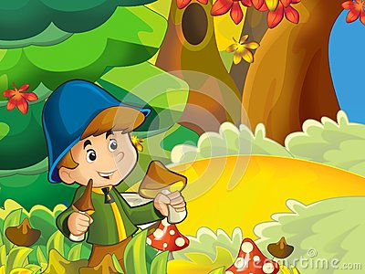 The boy on the mushrooming - seeking the mushrooms in the glade