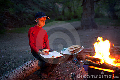 Boy and night camp