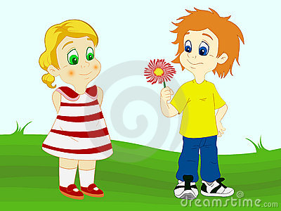 Boy offering flower to his girlfriend