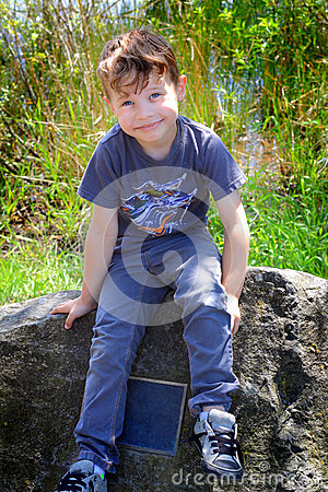 Free Boy On A Monument Royalty Free Stock Photo - 55260175