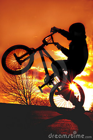 Free Boy On BMX Silhouette Stock Photography - 1567622