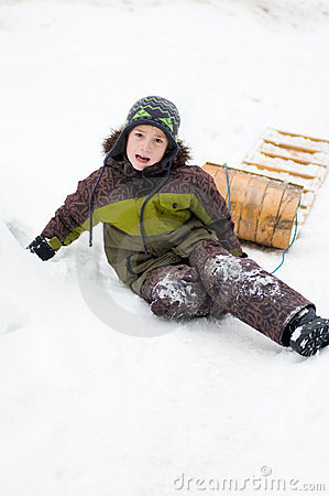 Boy outdoors in winter