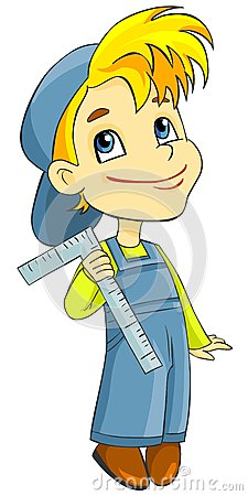 Boy in overalls with a ruler