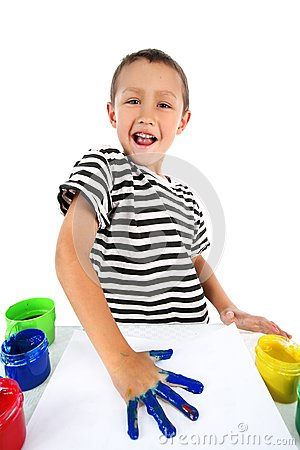 Boy with paint