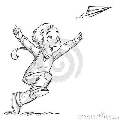 A boy with a paper plane