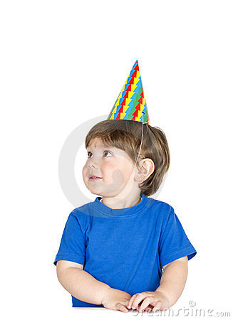 Boy with a party hat.