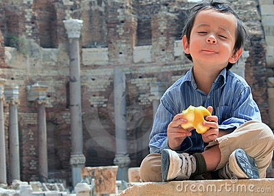 Boy at Peace Eating Apple