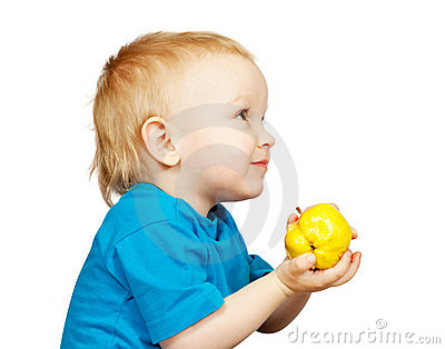 Boy with pear